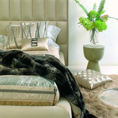 Bagnaresi Casa - Cuscino R9 in seta con fibbie in corno naturali