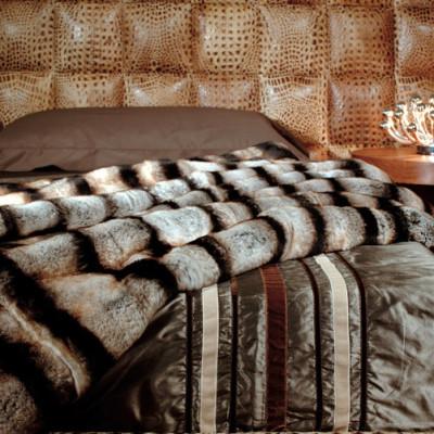 Bagnaresi Casa - Plaid - Cover - MONGOLIA C1 - RX - Letto Brera Pelle stampa Cocco Scuro