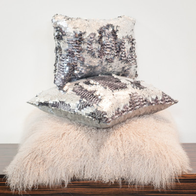 Cushion paillettes bicolour